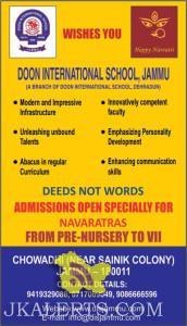 Doon international School jammu, ADMISSIONS OPEN SPECIALLY FOR NAVARATRAS