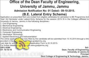 B.E. Lateral Entry Scheme, Admission open University of Jammu, Jammu