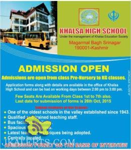 Khalsa High school Admissions open from class Pre-Nursery to KG classes.
