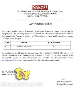 Research Associate jobs in SKUAST