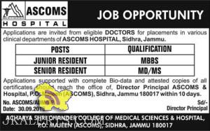 JOBS IN ACHARYA SHRI CHANDER COLLEGE OF MEDICAL SCIENCES & HOSPITAL, (ASCOMS), SIDHRA