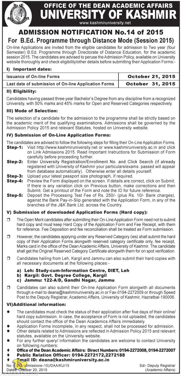 Admission open in Kashmir University B.Ed. Distance Mode (Session 2015)