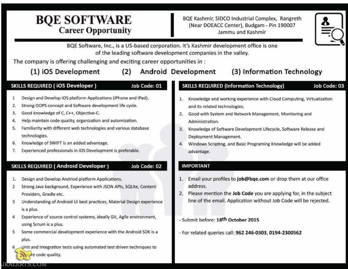 BQE SOFTWARE Requires iOS Developer, Android Developer