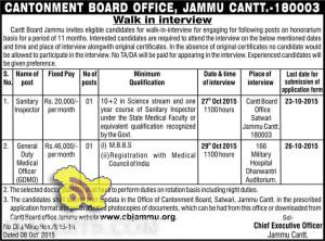 Sanitary Inspector, General Duty Medical Officer Jobs in CANTONMENT BOARD OFFICE,