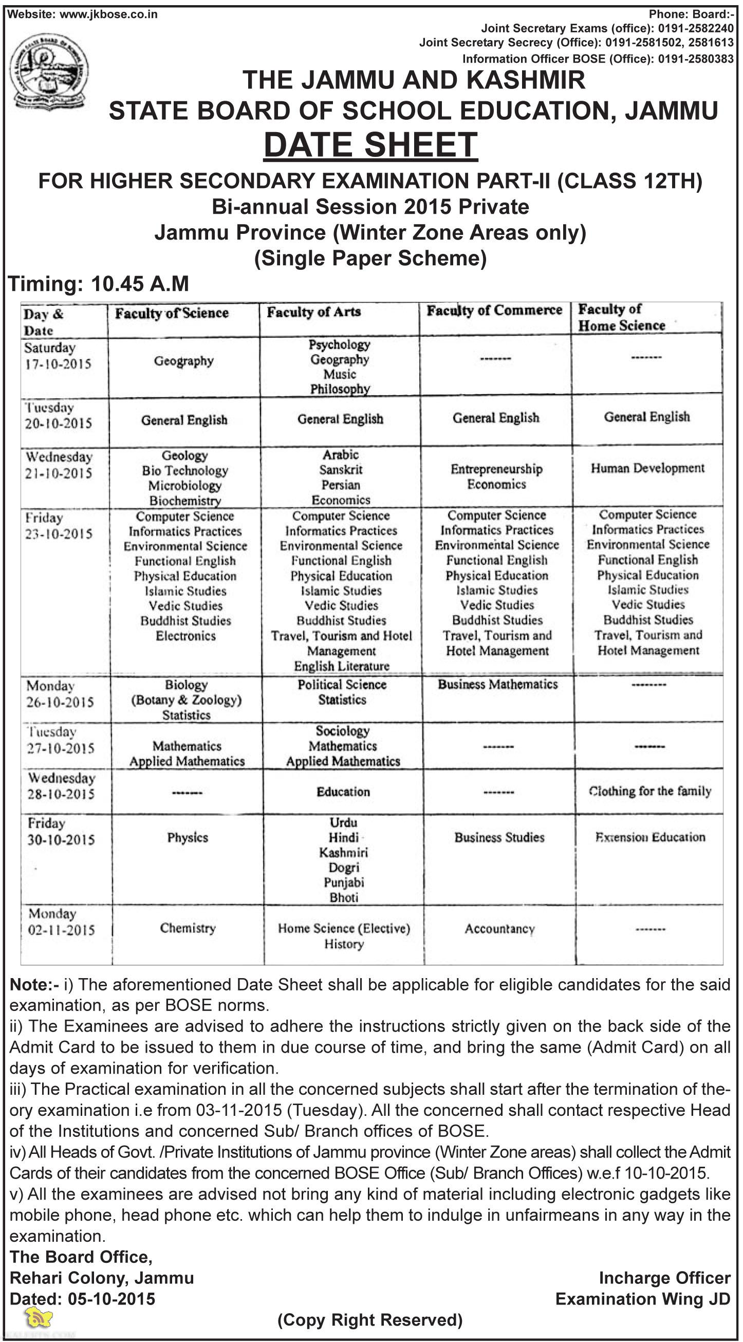 Jkbose Class 12th Datesheet Bi-annual 2015 Private Jammu Province (Winter Zone)