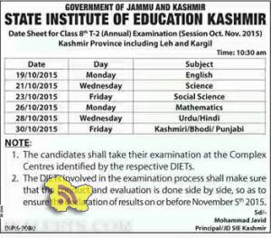 Date Sheet For Class 8th T-2 Annual Oct-Nov 2015 For Kashmir Province Including Leh & Kargil