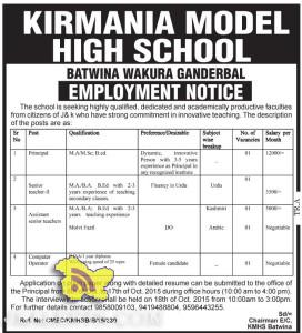 Principal, Teacher, Computer operator Jobs in KIRMANIA MODEL HIGH SCHOOL