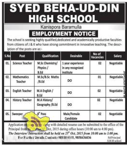Teachers job in SYED BEHA-UD-DIN HIGH SCHOOL , Teaching jobs in srinagar