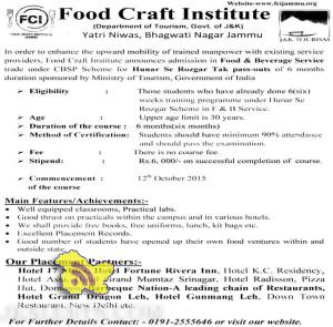 Admission in Food & Beverage Service Hunar Se Rozgar