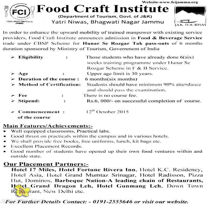 Admission In Food Beverage Service Hunar Se Rozgar