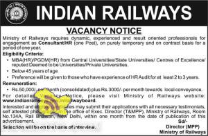 Consultant / HR Jobs in Indian Railway, vacancy notice