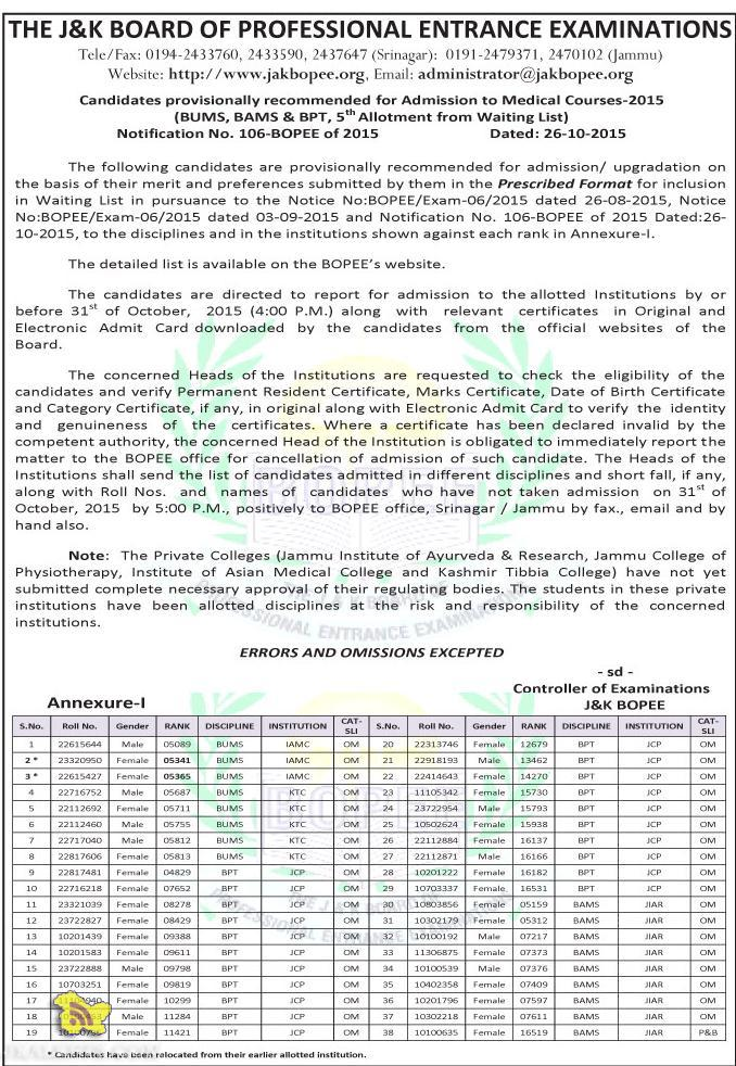 JAKBOPEE Admission to Medical Courses-2015 (BUMS, BAMS & BPT, Waiting List)