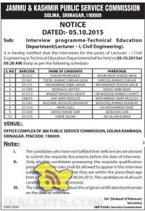 JKPSC Interview Notific ation-Technical Education Department(Lecturer -1, Civil Engineering).