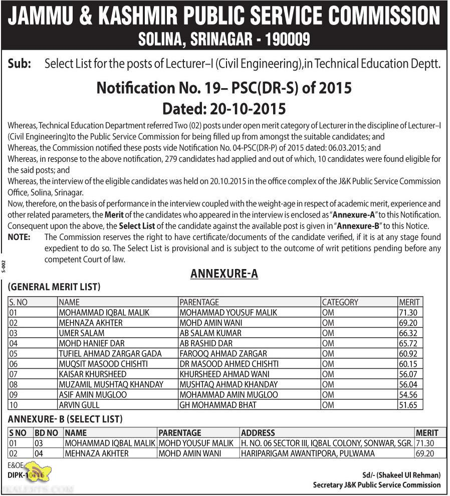 JKPSC Select List of Lecturer-I inTechnical Education Deptt