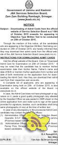 JKSSB Download Admit Cards for appearing in Test on 25th of October 2015.
