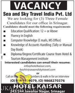 Jobs for females in Sea and Sky Travel India