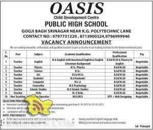 TEACHERS JOBS IN OASIS PUBLIC HIGH SCHOOL