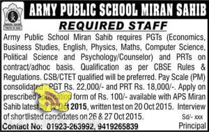 Army Public School Miran Sahib requires PGTs and PRTs teaching staff