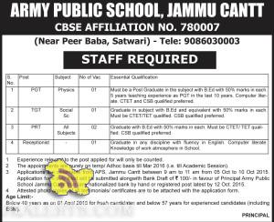 PGT, TGT, PRT, Receptionist Jobs in ARMY PUBLIC SCHOOL (APS), JAMMU CANTT