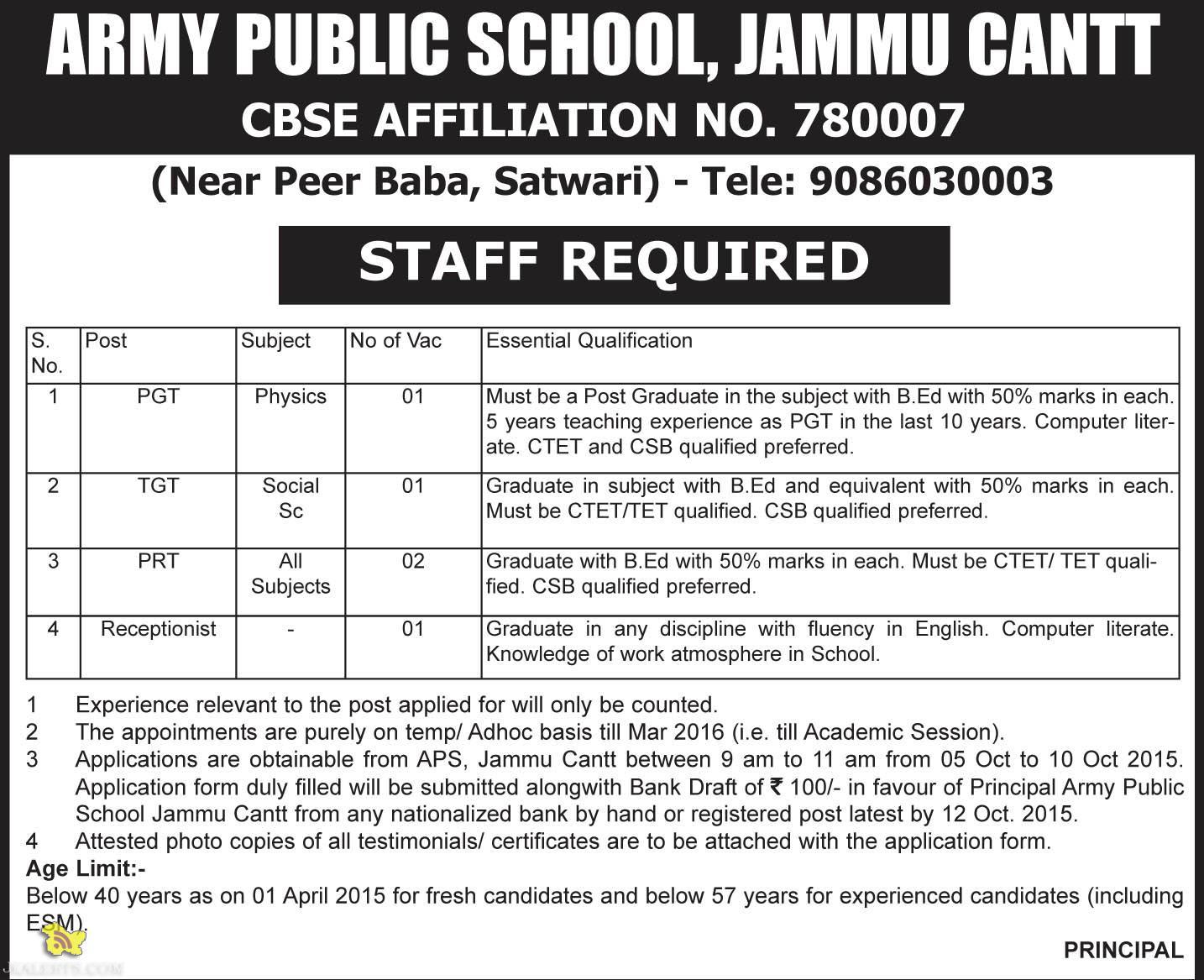 PGT, TGT, PRT, Receptionist Jobs in ARMY PUBLIC SCHOOL (APS), JAMMU CANTT