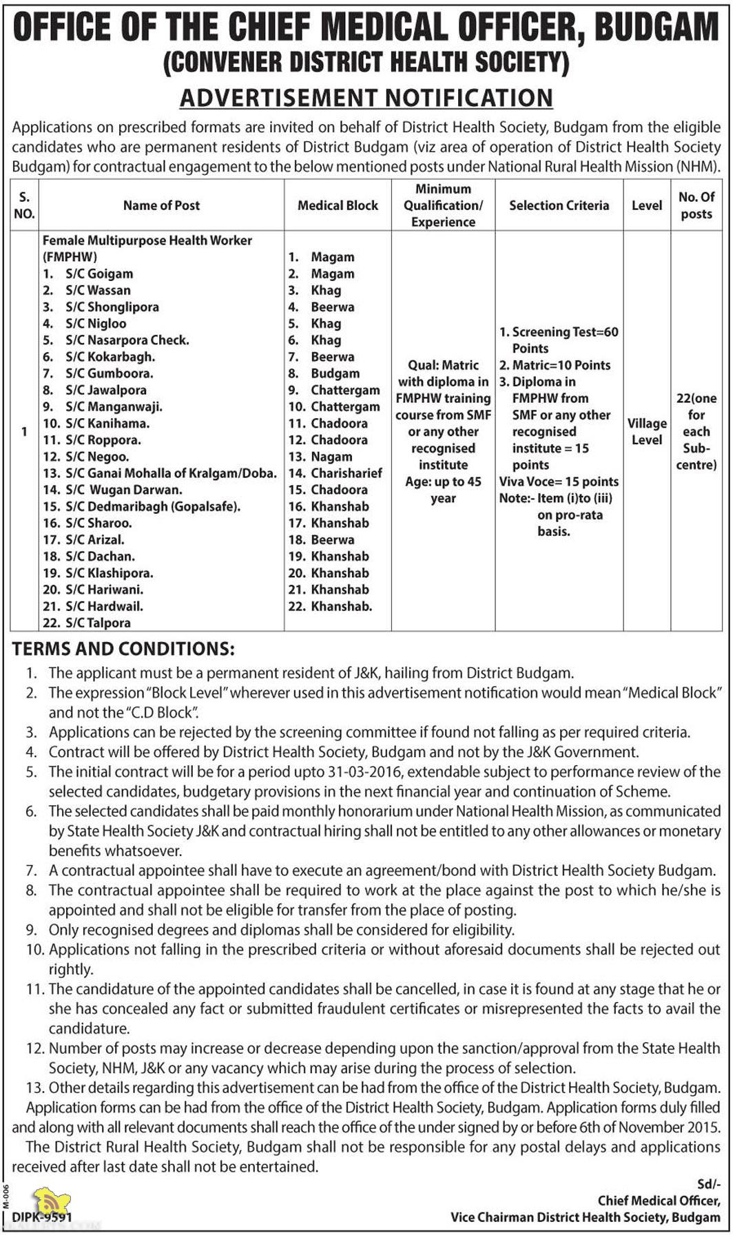 Female Multipurpose Health Worker (FMPHW) JOBS IN NHM.