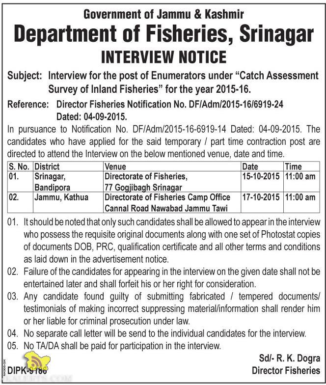 Interview for the post of Enumerators, Department of Fisheries, Srinagar