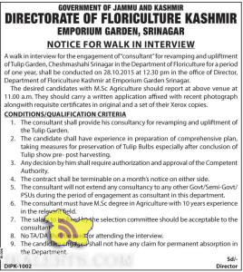 CONSULTANT WALK IN INTERVIEW IN DIRECTORATE OF FLORICULTURE KASHMIR