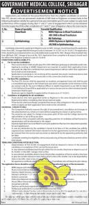 JOBS IN GOVERNMENT MEDICAL COLLEGE, SRINAGAR, GMC SRINAGAR