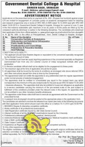 Lecturers academic arrangement basis for teaching and research in Government Dental College & Hospital