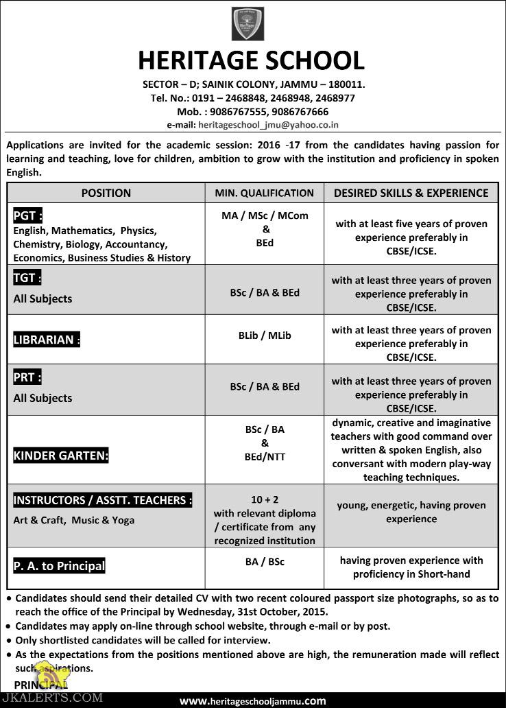 PGT, TGT, Librarian, PA to Principal jobs in Heritage School
