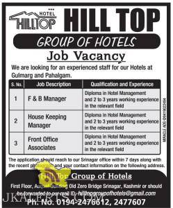 Jobs in Gulmarg and Pahalgam, Hill Top Group of Hotels