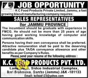 Jobs in KC Food Products, Sale Representatives for Jammu Province