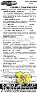 Jobs in MARUTI SUZUKI PEAKS AUTO (P) LTD.