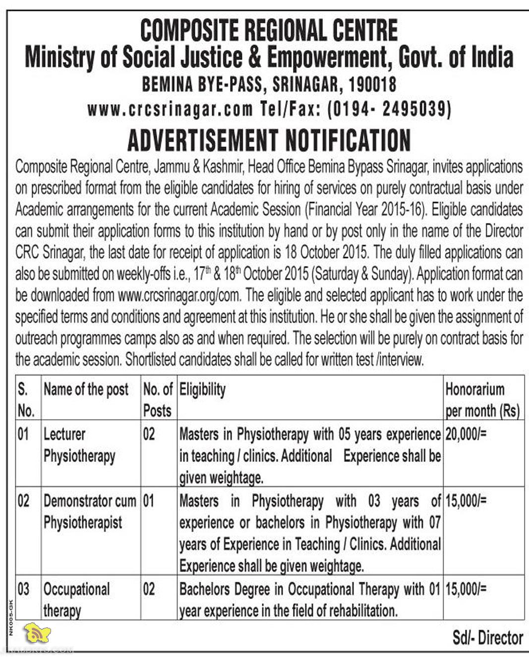 Academic arrangements for session 2015 - 16, Jobs in Composite Regional Centre Srinagar