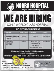 JOBS IN NOORA SUPER SPECIALTY HOSPITAL