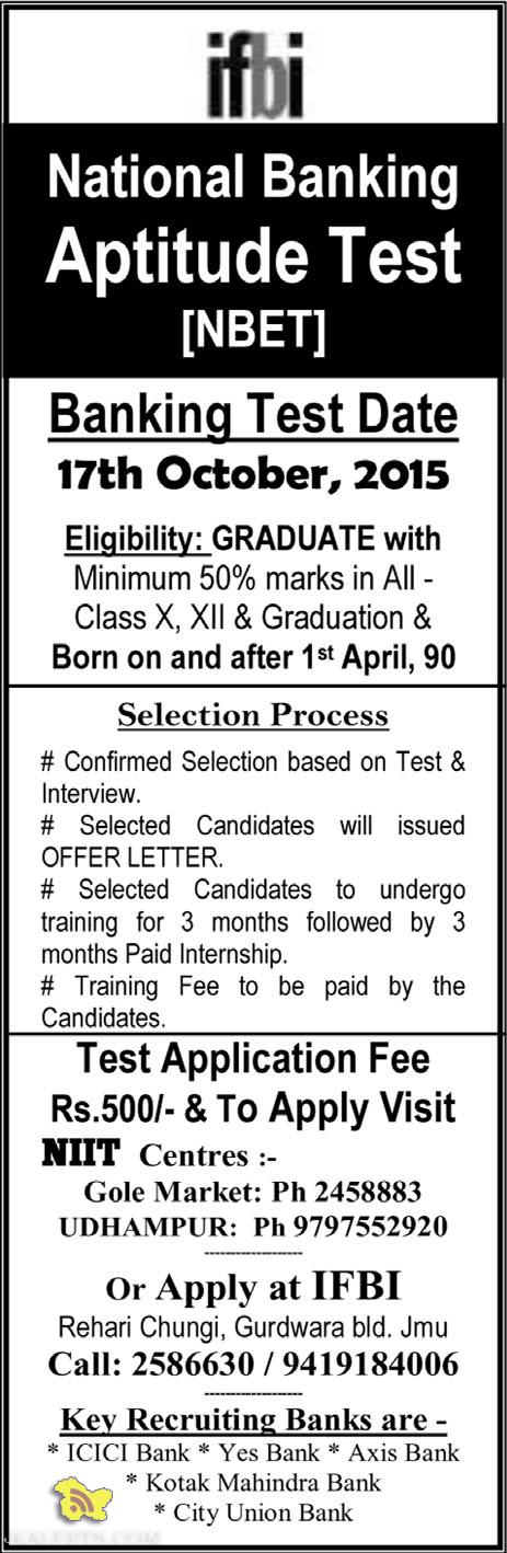 National Banking Aptitude Test [NBET] 2015 Key Recruiting