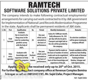 Field Surveyor and Data entry operator in RAMTECH SOFTWARE SOLUTIONS