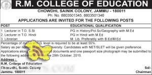 LECTURER JOBS IN R.M. COLLEGE OF EDUCATION CHOWDHI, SAINIK COLONY , Jobs in Privates College. Teaching Jobs, Jobs in Jammu, Career, Vacancies, Employment