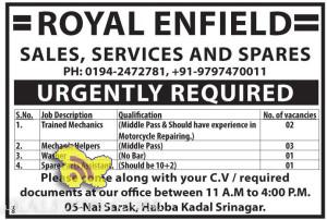 JOBS IN ROYAL ENFIELD, Spare Parts Assistant, Mechanic Helpers , Trained Mechanics
