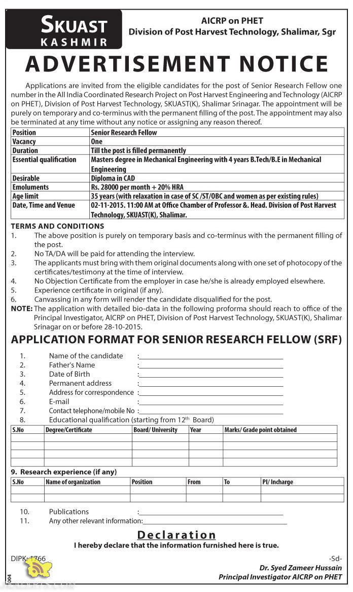 Senior Research Fellow Jobs in SKUAST