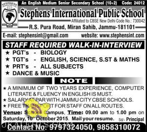 Jobs in Stephens International School, R.S Pura