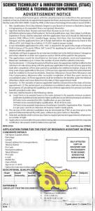 Research Assistants Jobs in Science Technology & Innovation Council (ST&IC)