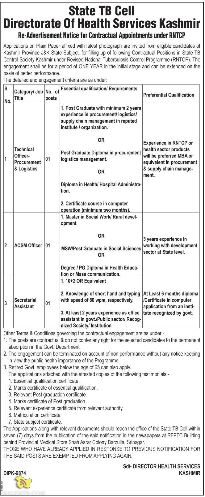 Jobs in State TB Cell Directorate Of Health Services Kashmir