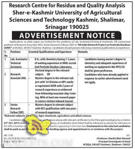 Lab. / Technical Assistants, Research Associate, Senior Research Fellow Jobs in SKUAST Srinagar