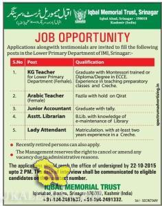 Teaching Non Teachong Jobs in IQBAL MEMORIAL TRUST, Junior Accountant jobs in Srinagar, Lady Attendant , Asstt. Librarian, private jobs in srinagar,