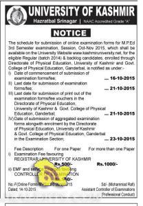 M.P.Ed 3rd Semester examination admission open 2015