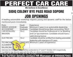 Private Jobs in PERFECT CAR CARE
