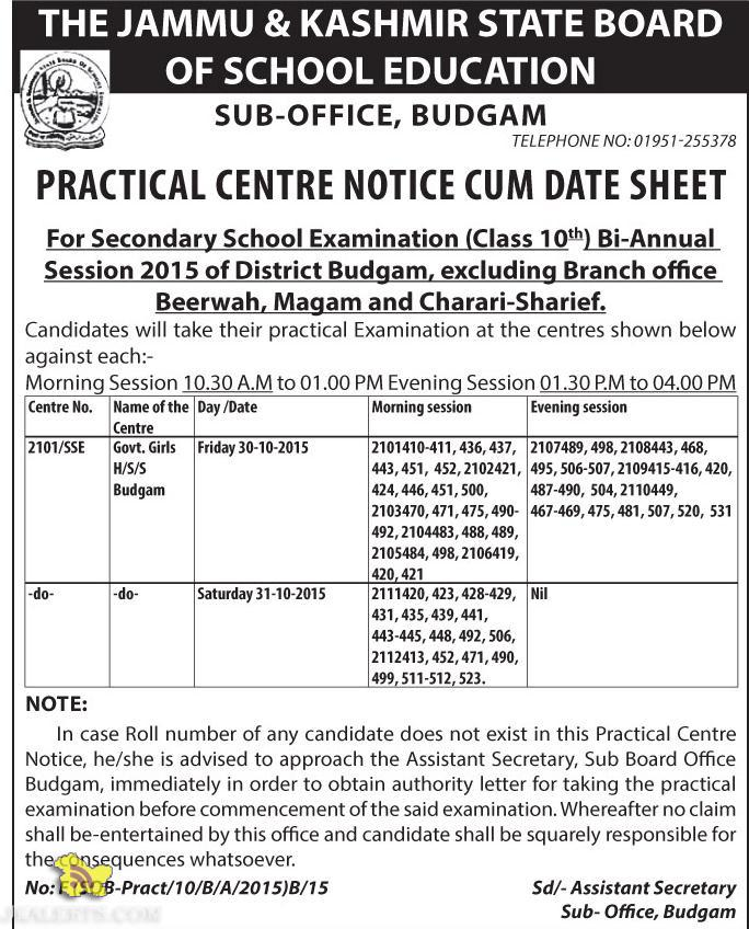 PRACTICAL CENTRE NOTICE CUM DATE SHEET CLASS 10TH 2015