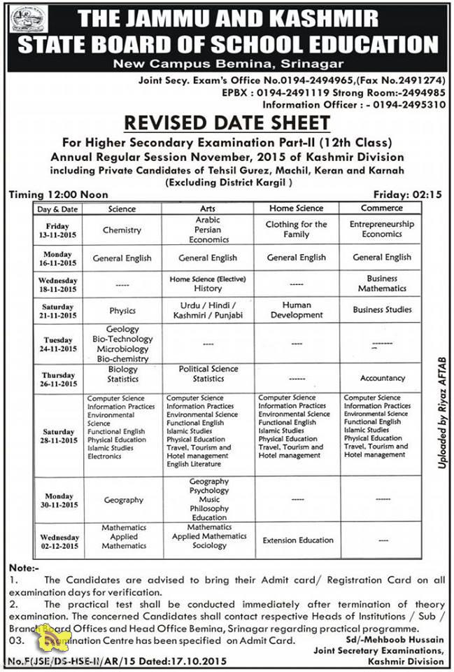 Revised Date sheet for Higher Secondary Part -II(12th Class)