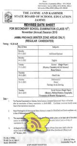 REVISED DATE SHEET CLASS 10th Annual 2015 Jammu Province Winter Zone
